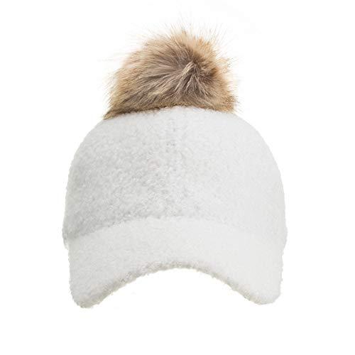 Hot Sales!! ZOMUSAR Men Women Winter Bone Gorras Pom Baseball Cap Snapback Wool Hat (White)