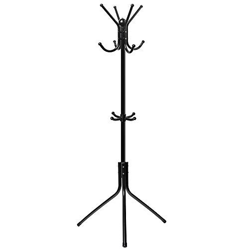 OxGord Den Haven Standing Coat Rack Hat Hanger Holder Hooks for Jacket Umbrella Tree Stand with Base Metal