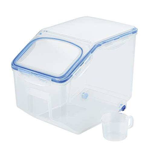 Lock & Lock HPL510 Easy Essentials Pantry Food Storage Container With Wheels/Food Storage Bin With Wheels - 50.7 Cup, Clear