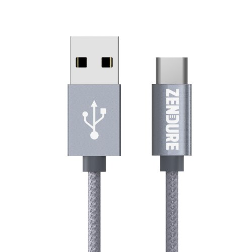 USB Type-C Cable, Zendure 12 inch/30cm USB-C to USB-A Charger, Nylon Braided Fast Charging Cord Compatible MacBook, Samsung Galaxy S9, S9+, S8, Note 8/9, Pixel, LG, Huawei, Nintendo Switch- Grey