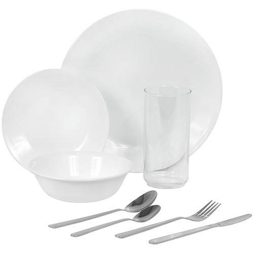 Corelle Livingware 64 Piece Dinnerware Set Service For 8 Winter Frost White