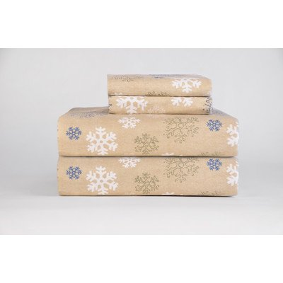 Heavy Weight Printed Flannel Sheet Set Size: Twin, Color: Oatmeal