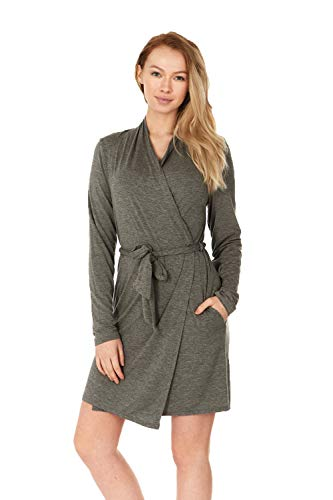 - X America Junior and Plus Size Robes for Women with Pockets and Belt 10+ Colors! (X-Small, Heather Charcoal)