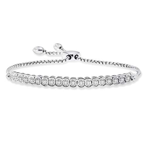 NATALIA DRAKE 1 10cttw Diamond Miracle Plate Adjustable Tennis Bracelet