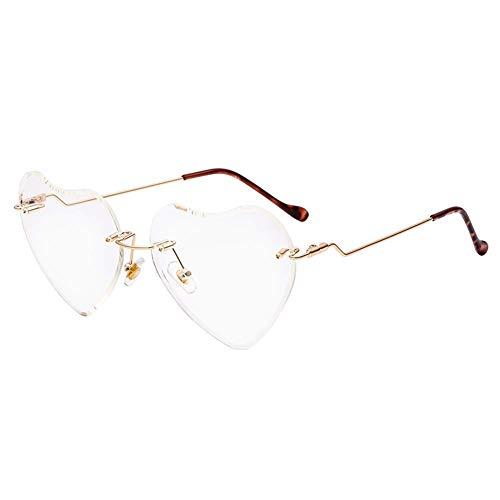 Heart Sunglasses for women Rimless Thin Metal Frame Heart shaped Sun glasses UV400 Transparent ()