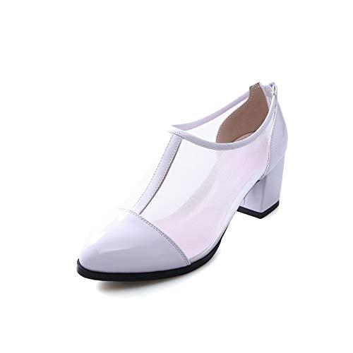 Comfort Verano Chunky Microfibra y Zapatos Mujer de White Primavera Negro Heel de ZHZNVX Blanco Heels g8qfSRxww