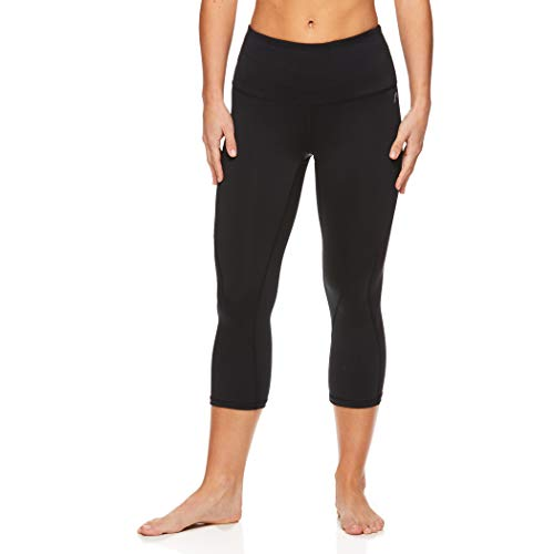 HEAD Women's High Waisted Capri Workout Leggings - Crop Activewear Gym & Running Pants - Face Off Black, Medium