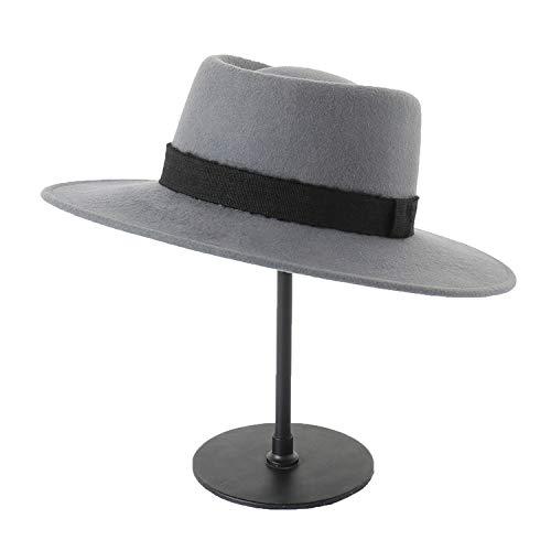 Pork Pie Fur Felt (DOSOMI Women Men Flat Wide Brim Fedora Hats Winter 100% Wool Felt Hat Men Wool Felt Pork Pie Hat,Gray)