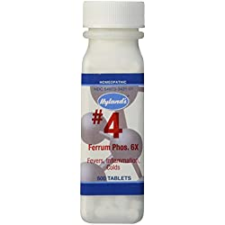 Hyland's Cell Salts #4 Ferrum Phosphoricum 6X Tablets, Natural Relief of Fevers, Minor Swelling, Colds, 500 Count