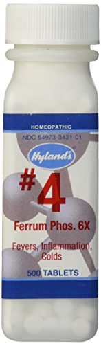Hyland's Cell Salts #4 Ferrum Phosphoricum 6X Tablets, Natural Homeopathic Relief of Fevers, Minor Swelling, Colds, 500 Count