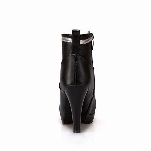 Charme Voet Dames Mode Platform Multicolor Rits Hoge Hak Enkellaarzen Zwart