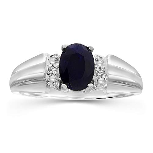 Sapphire and Diamond Women s Ring in 10K White Gold