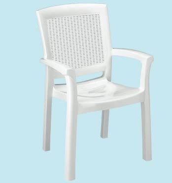 Sillas para exterior – Silla Sillón de resina ratán Maxi Amazon Blanca: Amazon.es: Jardín