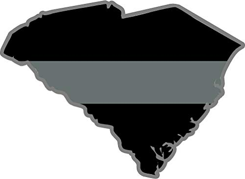 (OLS Studios Magnet South Carolina SC State Thin Silver line Decal Corrections Officer Sticker Decal Magnetic Vinyl Sticks to Any Metal Fridge, car, Signs)