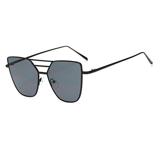 Vanvler Women Luxury Brand Fashion Unisex Vintage Irregular Glasses Aviator Mirror Lens Sunglasses - Sunglasses Black Luxury Logo