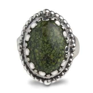 Serpentine Sterling Silver Ring (Carolyn Pollack Sterling Silver Green Serpentine Ring)