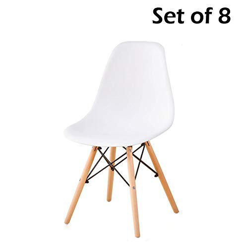 YEEFY Dining Chairs Eames-Style Side Chair Wooden Legs Chairs, Set of 8(White) Review
