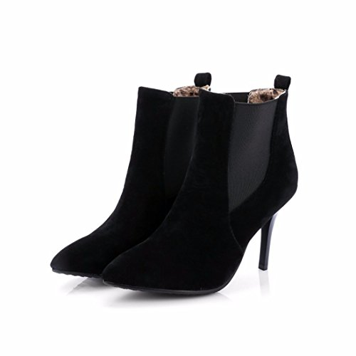 Autumn winter scrub and pointed fine with and code boots boots cashmere Black 55SrnHqwtx