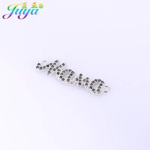 (Laliva Wholesale Paved Zircon Russian Mama Connector Charms Accessories for Mom Bracelets Necklace Earrings Jewelry Findings DIY Making - (Color: White Gold Black, Size: 5 Pieces Wholesale))