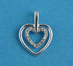 JW403 Double Heart Pendant (Silver Singapore): Amazon co uk