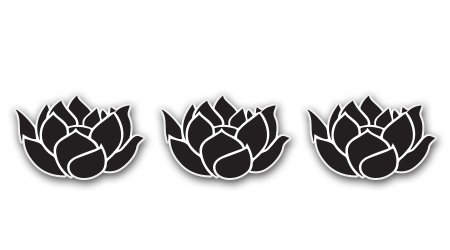 Lotus Flowers Set of 3 Black Vinyl Sticker - Car Phone Helmet - SELECT SIZE
