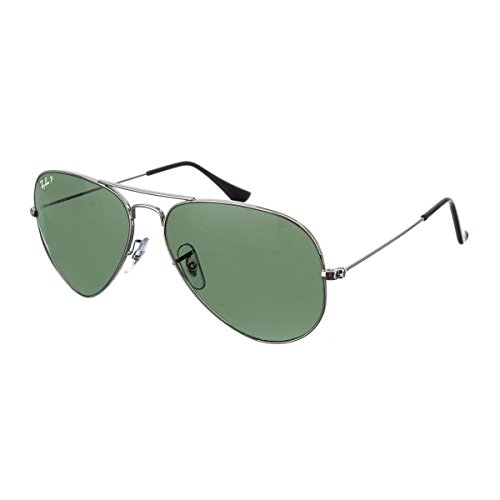 Ray-Ban 3025 Aviator Large Metal Non-Mirrored Polarized Sunglasses, Gunmetal/Green (004/58), - Mirrored Aviator Sunglasses Ban Ray