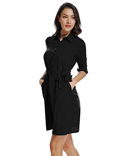 (Mia Pristine Womens 3/4 Roll up Sleeves V Neck Spread Collar Belted Button up Shirt Dress, Black,)