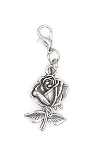Rose Clip On Charm Perfect for Necklaces and Bracelets (ZC - Flowers Rose Charms
