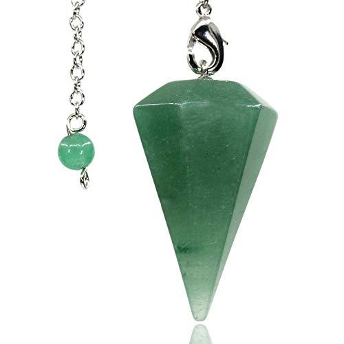 Amandastone Natural Aventurine 12 Facet Crystal Hexagonal Pointed Reiki Chakra Pendant Pendulum