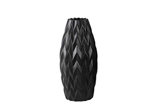 Urban Trends Ceramic Rounded Bellied Vase with Round Lip and Embossed Wave Design, Small, Matte Black