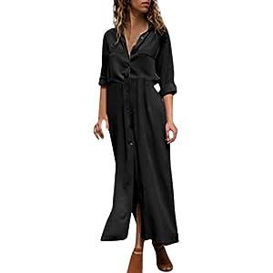 08fb6f80d37fd7 Gergeos Women s Solid Long Sleeve Casual V-Neck Button Split Hem Long Dress