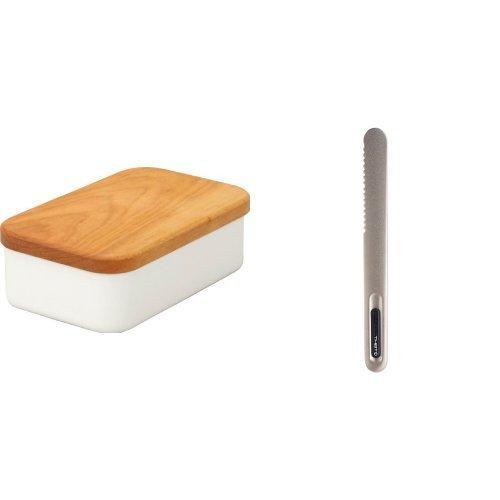 【세트 구매】노다호로(Nodahoro) 노다법랑 법랑 버터 케이스 200g용 BT-200 + 버터 나이프 스프레드 블랙 SPR22B