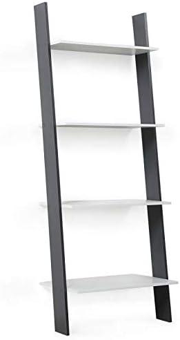 IDMarket - Estantería escalera escandinava de 4 niveles de madera, color blanco y gris: Amazon.es: Bricolaje y herramientas