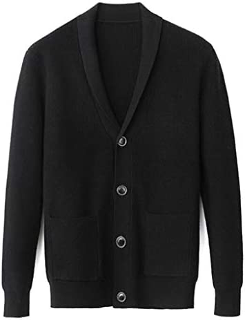 メンズファッション暖かいニットカーディガンのボタン長袖ラペルスリムセータージャケット (Color : A, Size : XL)