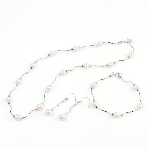 O-stone Daylight and Moonlight Freshwater Cultured Pearl Jewelry Set Earrings 30mm Length Necklace 480mm Bracelet Inside Diameter 55mm