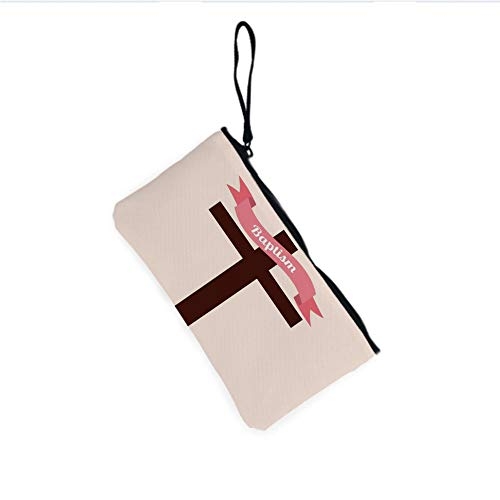 Canvas Coin Purse Zipper Coin Holder Mini Wallet Bags Cosmetic Makeup Bags,Ribbon Cross at the back Christening Church Event -