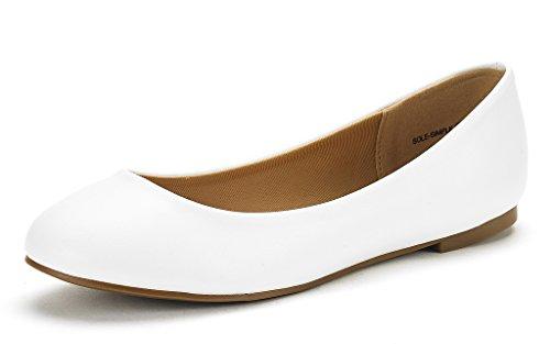 Flats Simple Pu Walking Shoes Ballerina DREAM Womens Sole PAIRS White 7CYwFqY