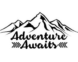 - Chase Grace Studio Adventure Awaits Outdoors Hiking Camping Mountains Vinyl Decal Sticker|BLACK|Cars Trucks Vans SUV Laptops Wall Art|6.5