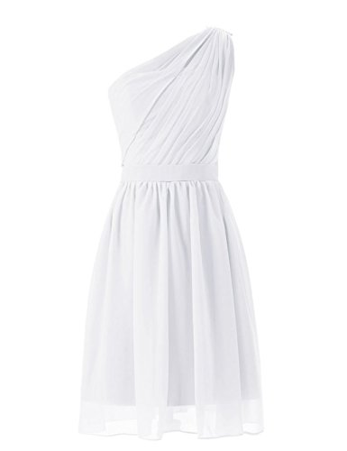 White Dress Short Chiffon Homecoming Shoulder One Women's Bridal Dresses Anna's Bridesmaid zqSvUHnHw