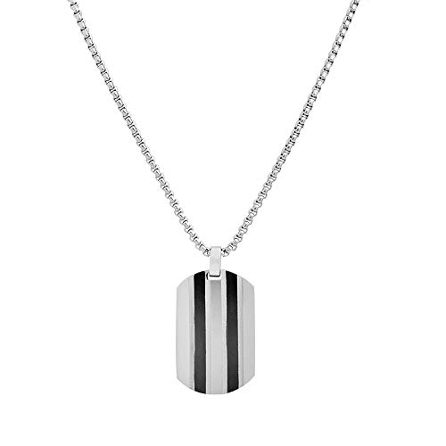 Geoffrey Beene Stainless Steel Men's Patterned Dog Tag Necklace, Silver/Black (Tag Charm Dog Silver Pendant)