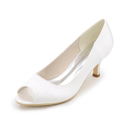 Toe White Prom Dress Ager Kitten Sera Donna Satin Sposa Peep Y1195 Da Da Pompe 01 Flower Tacchi Scarpe pS0vFnWqTF