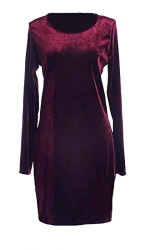 Cruiize Womens Manches Longues Ras Du Cou Velours Chaud Solide Vin Rouge En Vrac Mini Robe