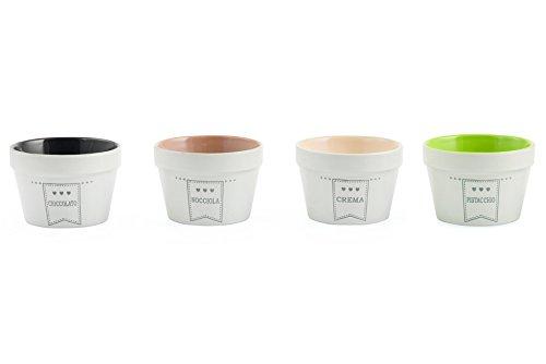 Villa Deste Collection - Villa D'Este Good Morning Set of 4 Ice Cream Cups Stoneware, and Fruit, White
