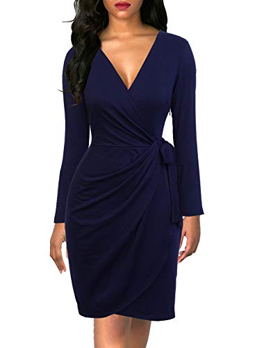 Berydress Women's Chic Faux Wrap V-Neck Sheath Knee-Length Long Sleeve Office Wear to Work Dress Belt (XL, 6090-Navy)