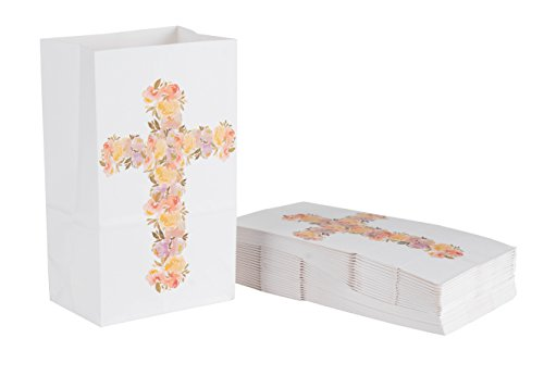Party Treat Bags - 36-Pack Gift Bags, Religious Party Supplies, Paper Favor Bags, Recyclable Goodie Bags for Kids, Floral Cross Design, 5.2 x 8.7 x 3.3 ()