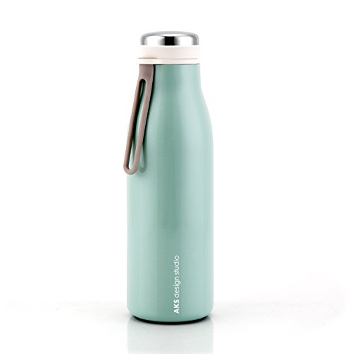 AKS Vacuum Insulated Stainless Steel Water Bottle Leak Proof Sweat Proof Tumbler (Green 17oz)