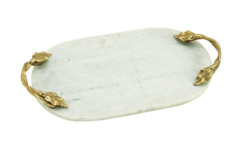 Deco 79 49640 Aluminum Marble Oval Tray, 20'' x 2'' by Deco 79