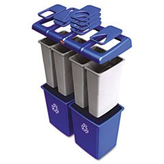 (3 Pack Value Bundle) RCP1792372 Glutton Recycling Station, Rectangular, Plastic, 92 gal, Blue