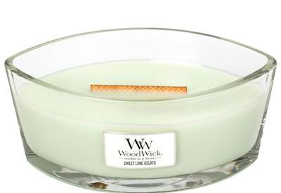 Ice Cream Scented Candle - SWEET LIME GELATO Ellipse HearthWick Flame Scented Candle by WoodWick