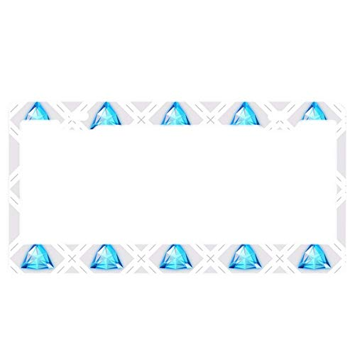 Gemstone Rust (VASQUEZLIA License Plate Frame, Blue Gemstones Alumina License Plate Frame 2 Square Hole Standard, 12×6 Inch)